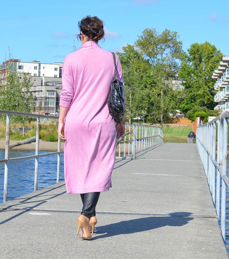 ASOS Longline Oversize Cardigan Pink-2