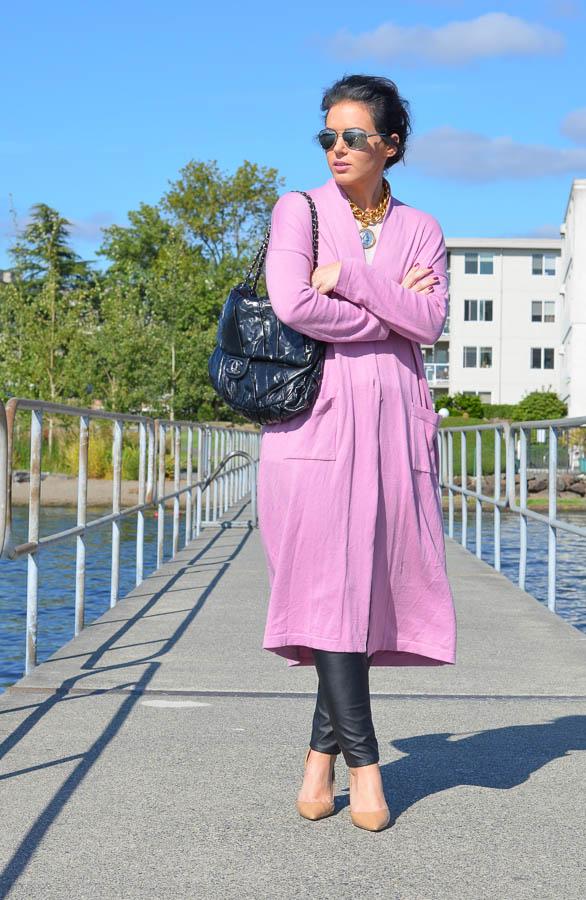 ASOS Longline Oversize Cardigan Pink-5