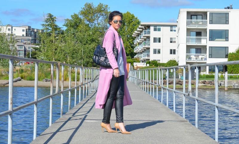 ASOS Longline Oversize Cardigan Pink-8