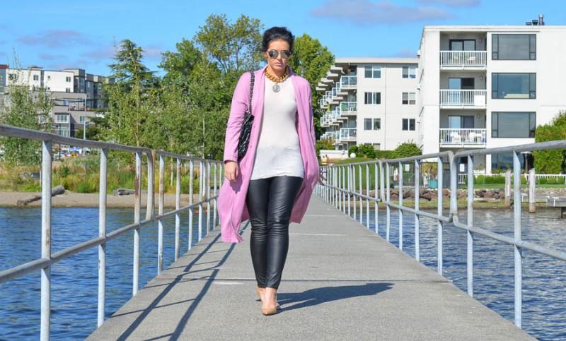 ASOS Longline Oversize Cardigan Pink-9