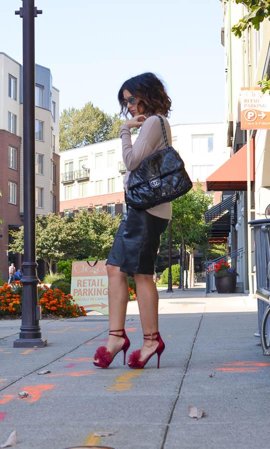 ASOS Leather Culotte Bermuda Short-4
