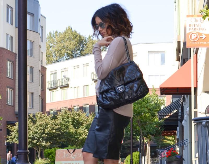 ASOS Leather Culotte Bermuda Short-5