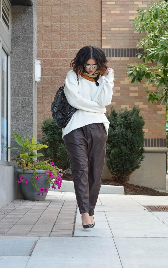 Zara Leather Trouser in Wine-14