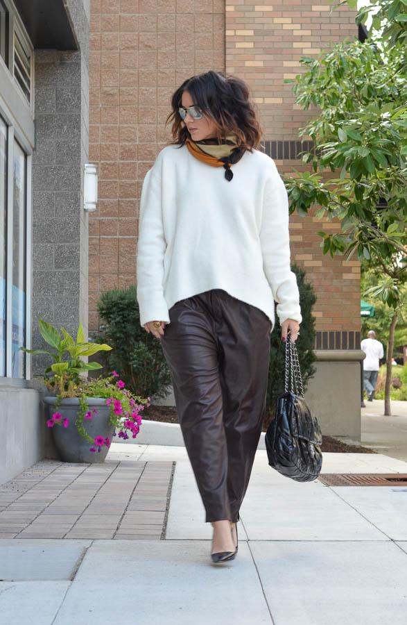 Zara Leather Trouser in Wine-17
