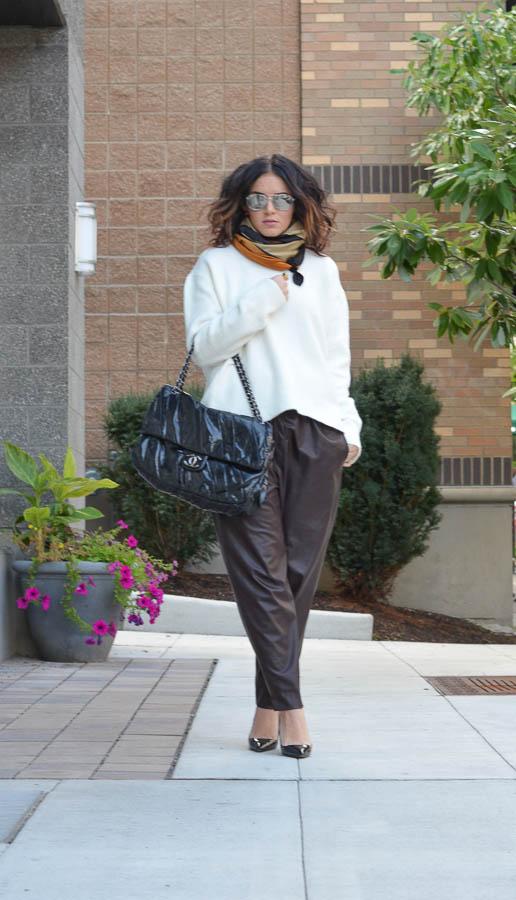 Zara Leather Trouser in Wine-2