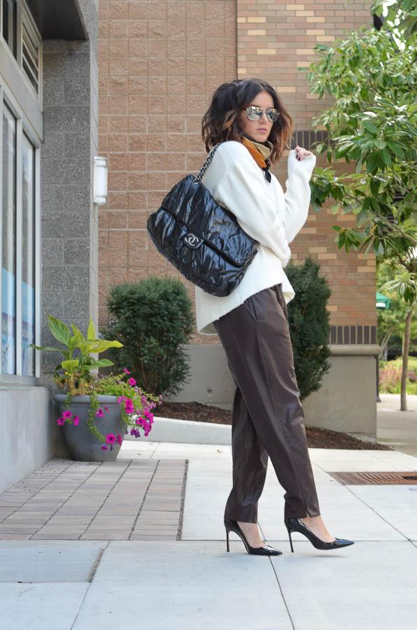 Zara Leather Trouser in Wine-21