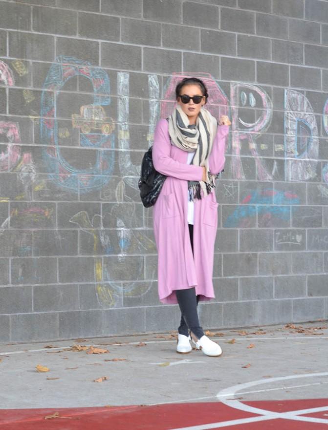 ASOS Longline Duster Cardigan in Pink-1