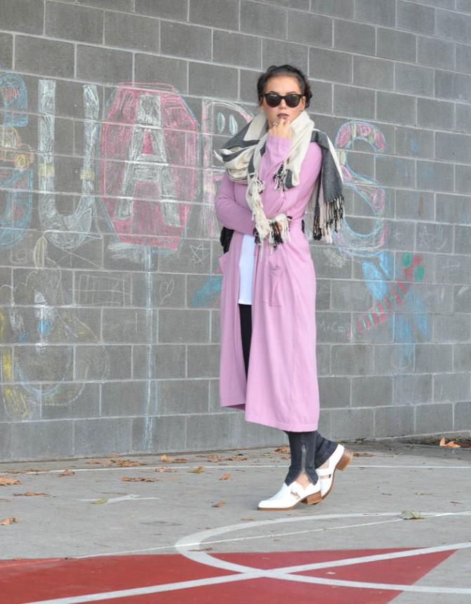 ASOS Longline Duster Cardigan in Pink-10