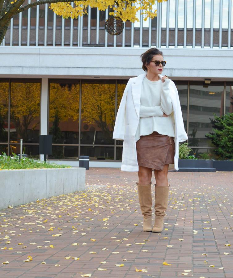 Forever 21 Boucle Overcoat Cream-15