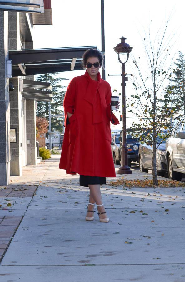 Sheinside Red Long Sleeve Woolen Pockets Overcoat-5