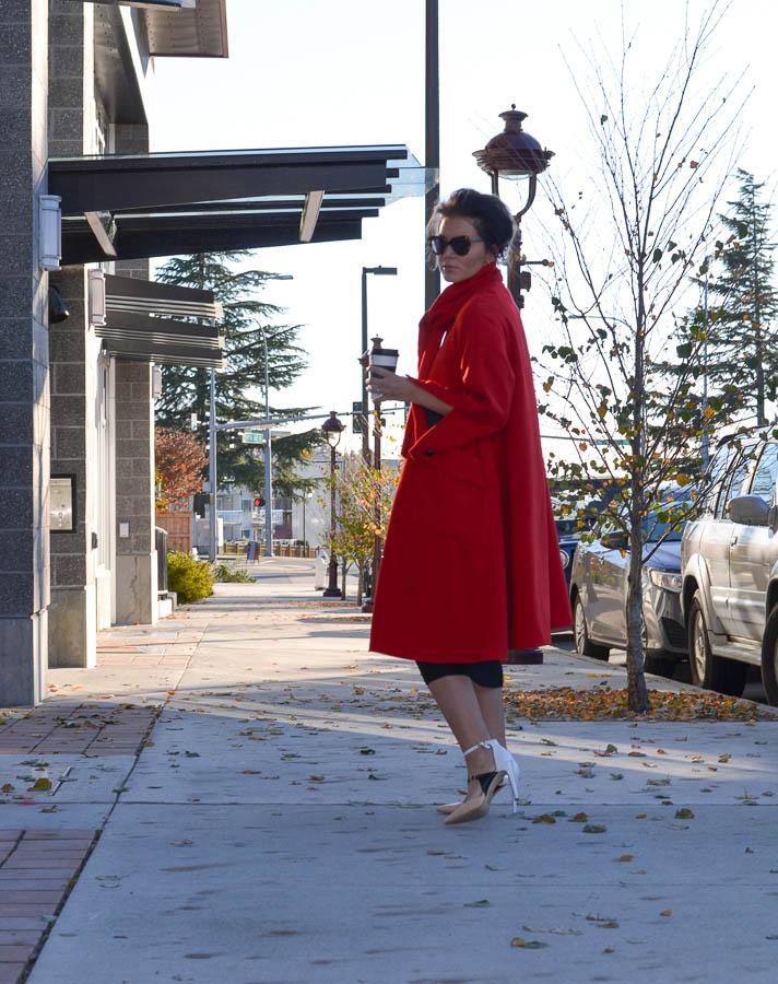 Sheinside Red Long Sleeve Woolen Pockets Overcoat-6