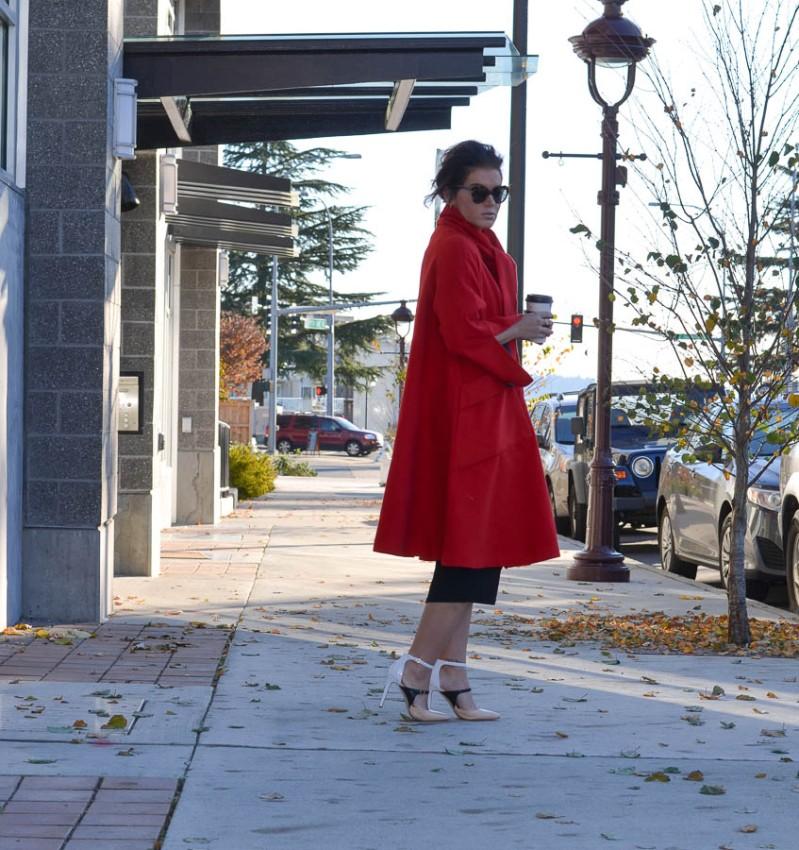 Sheinside Red Long Sleeve Woolen Pockets Overcoat-9
