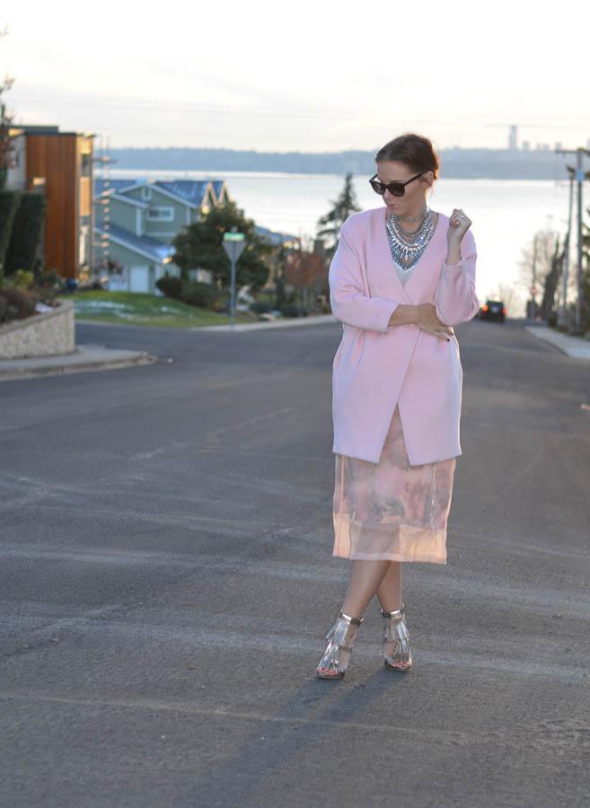 ASOS SALON Midi Skirt in Floral Organza-9