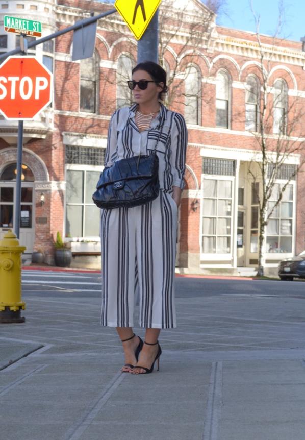 Vila Wide Leg Pant in Vertical Stripe-13