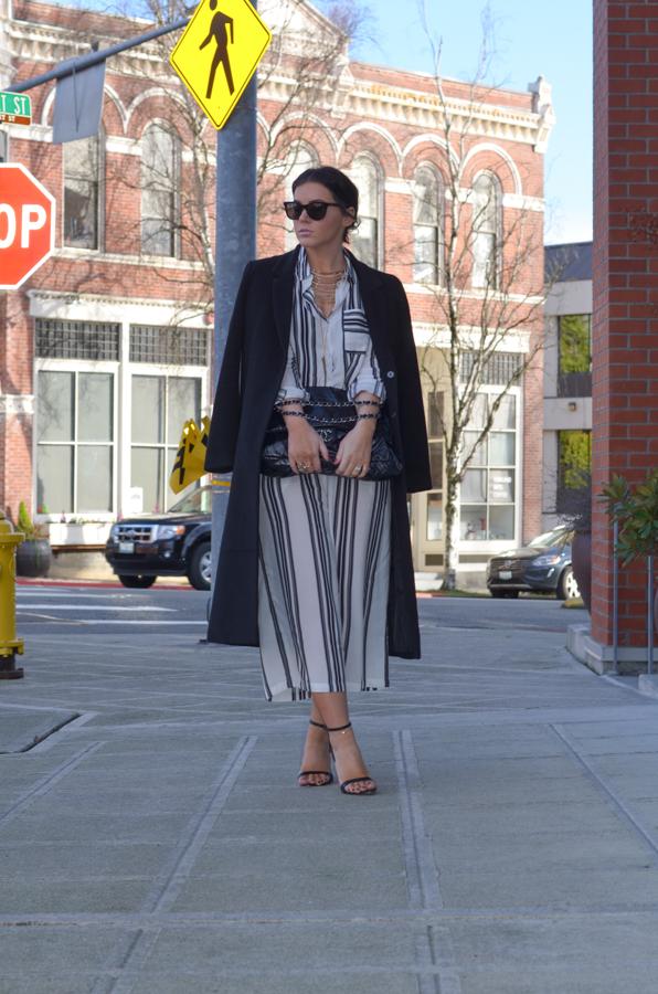 Vila Wide Leg Pant in Vertical Stripe-17
