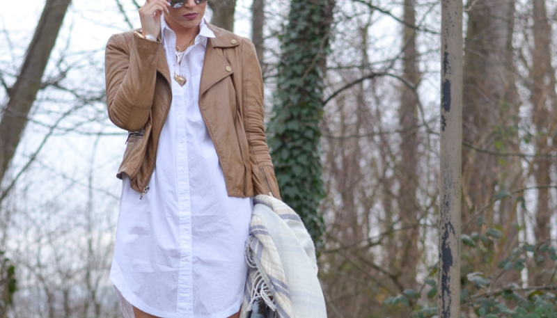 White Cotton Oversized Shirtdress-10