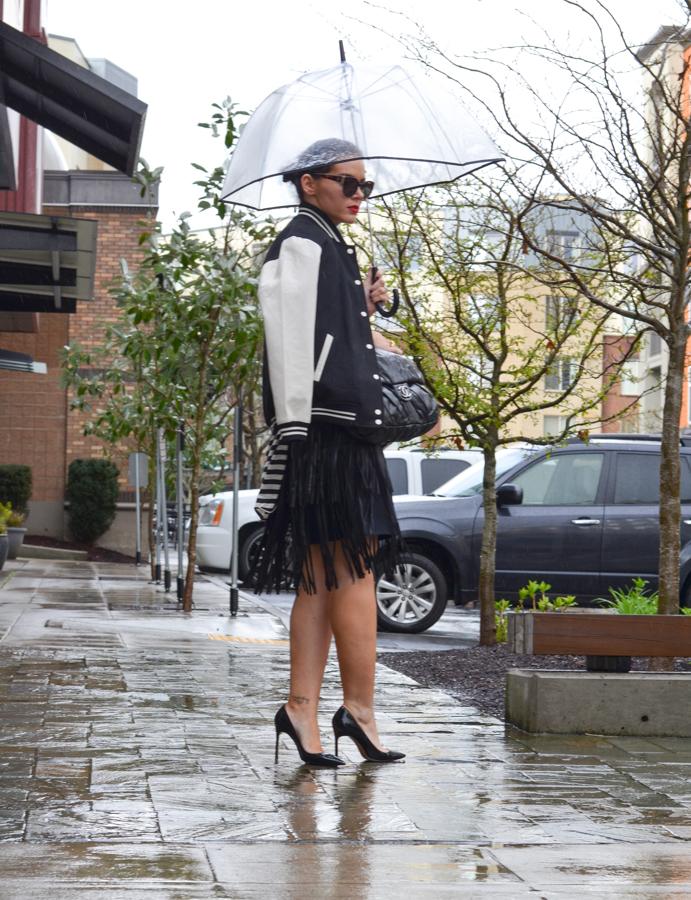BCBG Rachelle Leather Fringe Skirt-1