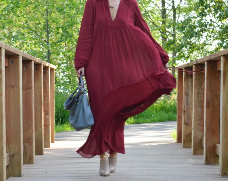 Zara Studio Campaign Long Maxi Dress Red-11