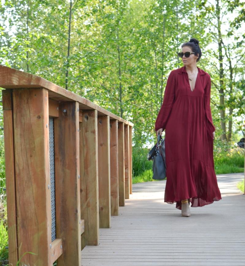 Zara Studio Campaign Long Maxi Dress Red-7