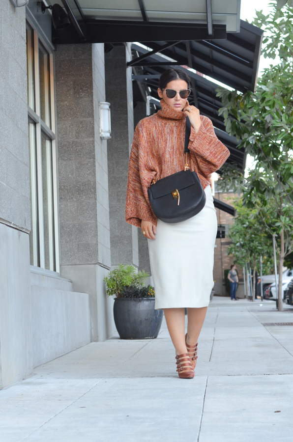 Faux Leather Cream Pencil Skirt